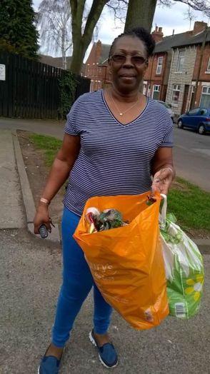 picking up rubbish