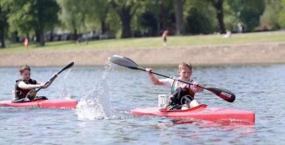 Huw Singleton and Archie Lever at Nottingham Kayak Marathon day May 2019