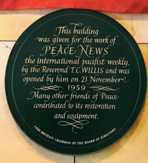 Peace News Memorial Plaque